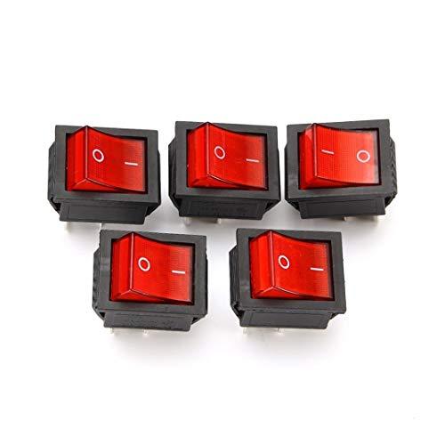 Interruptor de balancín en/apagado 5 2-posición de la luz roja del eje de balancín Interruptores 16A / 250V KCD4-20 4-pin ON/OFF del interruptor eléctrico 35 X 25,5 X 10 mm