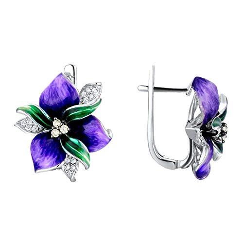 XPT Pendientes de mujer de lujo con incrustaciones de diamantes de imitación de esmalte con colgante de flor para regalo, regalo para fiestas, banquetes, moradas*pendientes