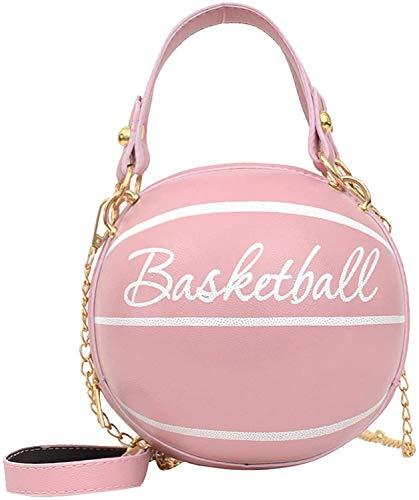 HAIWILL Basketball Handtasche Damen Runde Umhängetasche Leder Handytasche zum Umhängen Brieftasche Crossbody Geldbörse Klein Kuriertasche Handtasche Tasche für Mädchen (Pink)