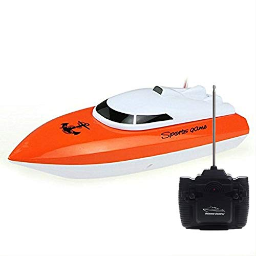 SZJJX RC Boat, Remote Control Racing Boats for Pools and Lakes, 10KM/H Mini Speed Boat Toys Outdoor Adventure Electric 4 Channels for Kids (802Orange)