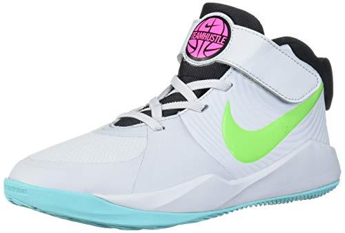 Nike Unisex-Kid's Team Hustle D 9 Pre School Basketball Shoe, Pure Platinum/Electric Green, 3Y Regular US Little Kid