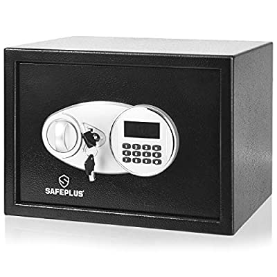 Safstar Security Safe Box w/2 Keys, 0.5Cubic Feet 2-Layer Steel Safe w/Electronic Digital Keypad for Home Office Hotel, Safe Cash Jewelry Passport Guns Cabinet, Black