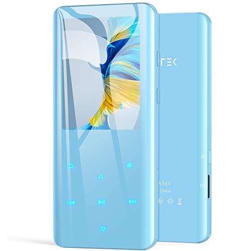 AGPTEK 32GB MP3 Player Bluetooth 5.0 mit 2,4 Zoll TFT Farbbildschirm, HiFi Musik Player mit Lautsprecher, Touch-Tasten, UKW-Radio, Aufnahme, Unterstützung bis zu 128 GB, Blau