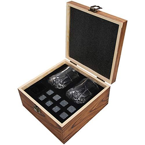 Juego de Piedras de Whisky, con Caja de Madera, Reutilizable, fácil de Limpiar, Juego de Piedras de Whisky, 8 Piezas de Bar para el Vino, Whisky