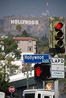 ERZANパズル500ピースハリウッドヒルズとハリウッド大通りストリートサインロサンゼルス大人と子供のための木製パズル