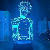 Solo 1 pieza Lámpara de luz nocturna LED acrílica Anime One Punch Man Genos Figura Escritorio Lámpara 3d para niños Habitación infantil Luz nocturna decorativa Manga regalo