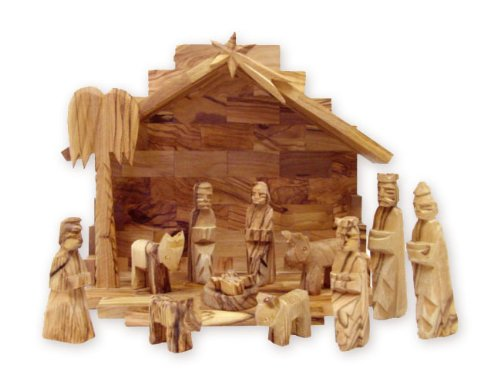Holy Land Market Olive Wood Miniature Set with Stable 12 Pieces (Plain Roof Stable)