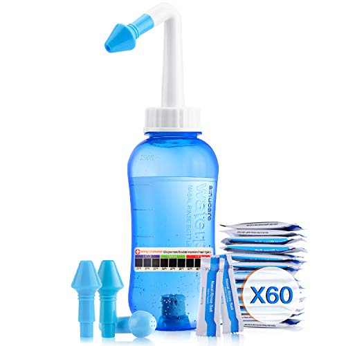 Enjuague sinusal Neti Pot – Botella de 300 ml, sistema de riego nasal para adultos y niños, con 60 paquetes de sal nasal y adhesivo de temperatura
