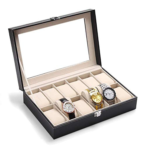 SONGAI Watch Storage Box, 12 Grids Jewelry Ring Watches Case Displaying Storage Box Organizer Black,Colour:Black Bracelets Earrings Rings Necklaces (Color : Black)