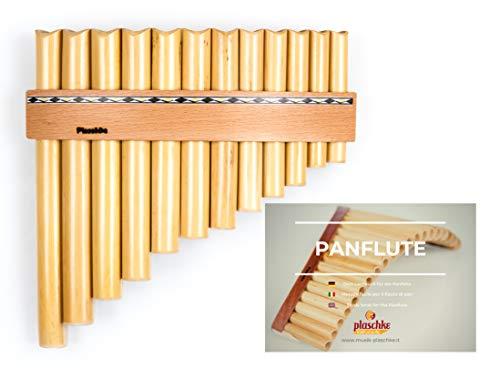 Panflöte aus Bambus, Indianische Flöte, rumänische Bauart mit 12 Tönen/Rohren in C-Dur + LEHRBUCH mit hochwertigen Holzriemen für Anfänger und Fortgeschrittene, handgemacht, handmade von Plaschke Instruments aus Südtirol/Italien