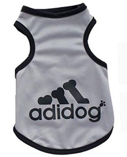 KayMayn Adidog Hundemantel Haustier Mantel Hund Kleider Mantel Kleidung Pullover Haustier Welpen T-Shirt, Verschiedene Größen von (L Grau)