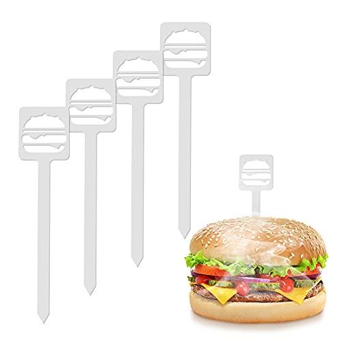 tradeNX Spiedo per hamburger (Burger), set da 4 pezzi, per tutti gli amanti della carne e...