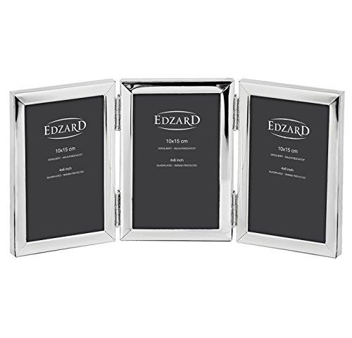 EDZARD Dreifach-Fotorahmen Aosta, edel versilbert, anlaufgeschützt, für 3 Fotos 10 x 15 cm