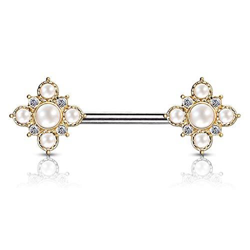 Playboy tepelpiercing - hanger parels piercing bloem zirkonia tepelpiercing #741