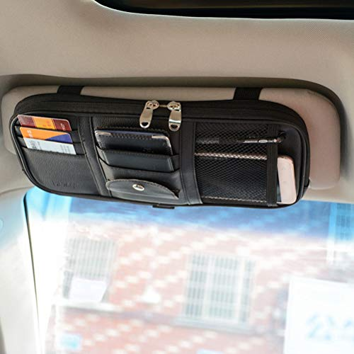 Car Sun Visor Organizer, Vankcp Auto Interior Accessories Sunglass Pen CD Card Small Document Storage Pouch Holder, PU Leather, Multi-Pocket with Zipper Net (Grey)
