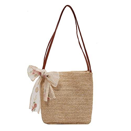 Bolsas de paja, bolso de mano de playa de verano con asa tejida para mujeres y niñas, Hombre, Camello1, Talla única
