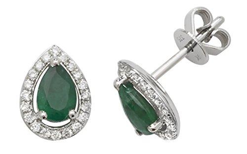 Oro blanco esmeralda y diamante pera Halo pendientes–Londres joyas trimestre