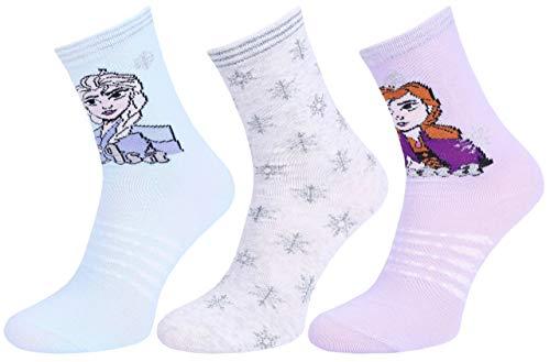 Calcetines de niñas, azul-violeta-gris Frozen 23/26 EU