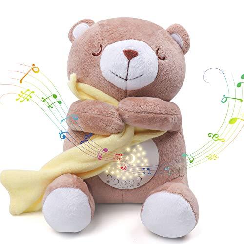 Umitive Einschlafhilfe für Babys, Plüsch Baby Spieluhr, Sound Toys, tragbar mit 15 Musik, 5 Farben Nachtlicht mit Sternenhimmel Projektor, Geschenk für Jungen und Mädchen (Bear)