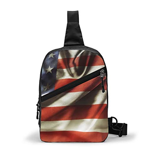 Best American Flag Small Casual Sling Bag Crossbody Bag Adjustable Shoulder Strap Chest Bag Shoulder Backpack Small Daypack for Men Women Outdoor Cycling Hiking Travel Tourist Mountaineering.
