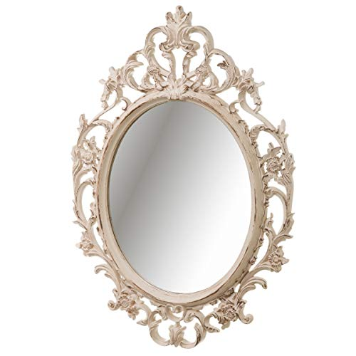 LOLAhome Espejo Cornucopia Ovalado clásico Beige de plástico de 70x50 cm