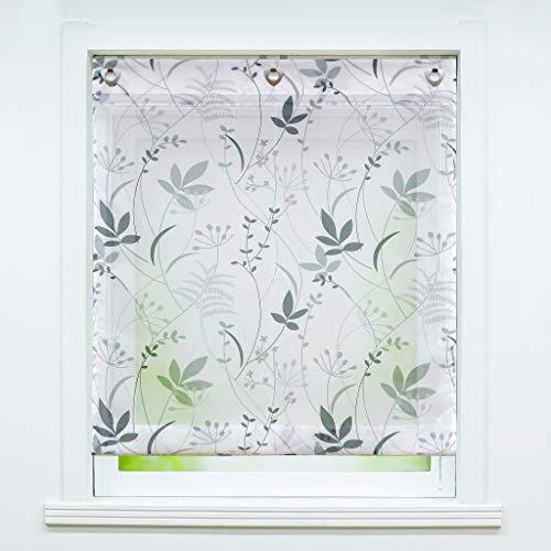 Cortina plisada de voile con estampado floral transparente «Therese», cortina para ventana 1 pieza, poliéster, Con gancho., BxH 80x140cm