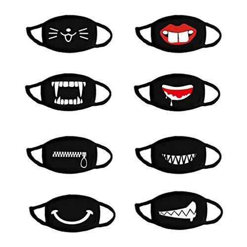 Lialbert 8 Stück Anime cartoon mundschutz Baumwolle Anti-Staub Mode Kawaii süße mundschutz wiederverwendbare schwarz mit motiv Atmungsaktiv Maske Mehrweg Stoffmaske Bedeckung Halstuch Schals