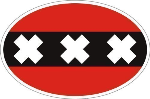 Vlag Amsterdam wapen ovaal auto caravan truck bike sticker 10x6,6 cm