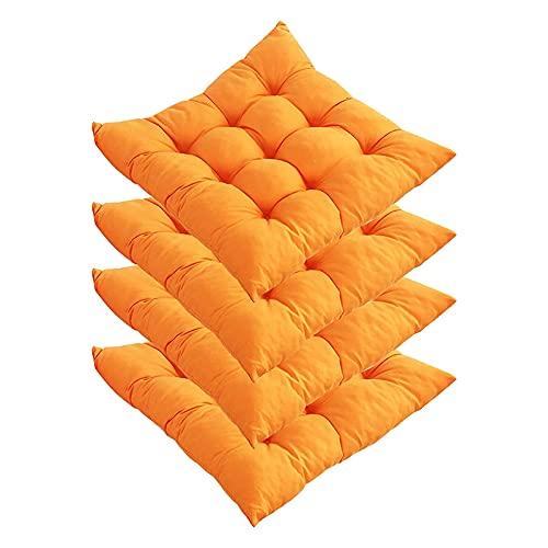 4 Cojines para Sillas De Comedor De 16'X 16' Suaves Y Cómodos Antideslizantes Cuadrados para Asientos para Exteriores Interiores Cocina Oficina Sala De Estar Patio Jardín Césped Patio,Naranja
