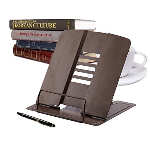 Supporti per Libri Tablet da Cucina in Metallo con 6 Altezze Regolabili, Multifunzine Pieghevole Leggio per Lettura Fermalibri,Casa,Ufficio (Marrone Scuro)