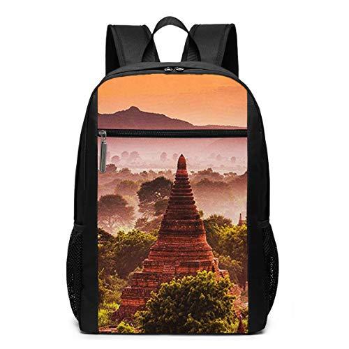 Schulrucksack Bagan Myanmar, Schultaschen Teenager Rucksack Schultasche Schulrucksäcke Backpack für Damen Herren Junge Mädchen 15,6 Zoll Notebook