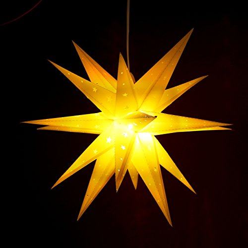 ETiME Adventsstern Weihnachtsstern mit 18 Spitzen Stern 3D Kunststoff Ø 60cm Fensterstern Deko Gelb (Gelb)
