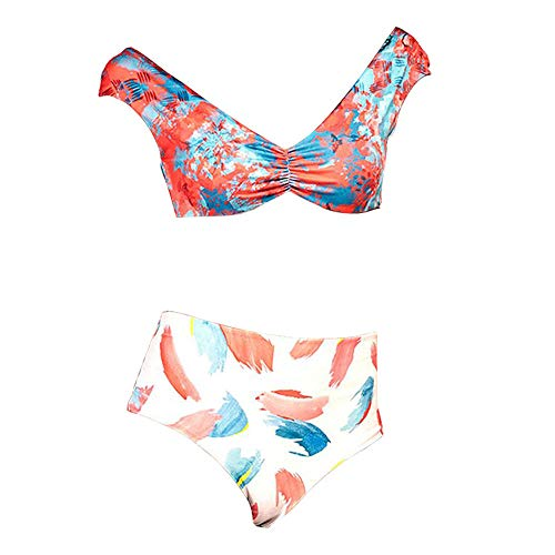 Charm4you Pants Triángulo Bikini Bañador,Nuevo Traje de baño Bikini con Cordones y Estampado Dividido-Tie Dye_S #,De Bikini con Estampado Tie-Dye