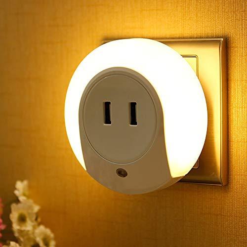 TXOTN Led-nachtlampje, stopcontact, met USB-aansluiting, schemeringssensor, bewegingsmelder, goed automatisch, aan/uit-stopcontactlamp, kinderkamer, trap, slaapkamer, keuken, energiezuinig