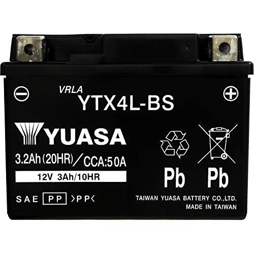 台湾製 バイクバッテリー 国内液入 初期補充電済 YUASA 純正互換品 (YTX4L-BS / GTH4L-BS / FTH4L-BS 互換)