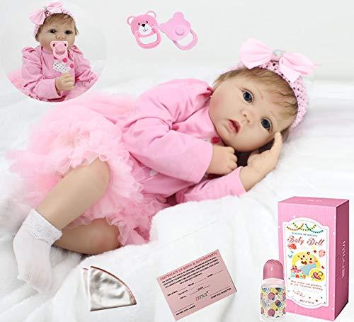 ZIYIUI Reborn Babys Mädchen Lebensechte 22 Zoll/55 cm Reborn Babypuppen Silikon Vinyl Reborn Toddlers Puppe Günstig Magnetisches Spielzeug
