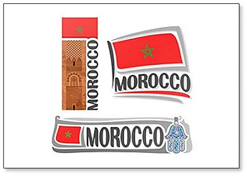 Kühlschrankmagnet Marokko-Flaggen mit Sehenswürdigkeiten & Symbolen