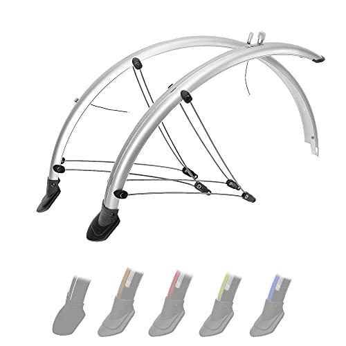 P4B | 28 Zoll Fahrrad Schutzblech Set in Silber | 45 mm Breite | Mit elektronischen Kontaktstreifen