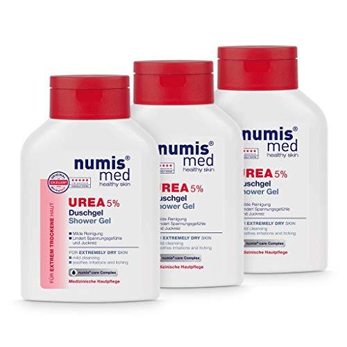 numis med Duschgel mit 5% Urea - Hautberuhigendes Duschgel für extrem trockene, zu Juckreiz neigende Haut - vegane Hautpflege ohne Silikone, Parabene & Mineralöl - Showergel 3er Pack (3x 200 ml)