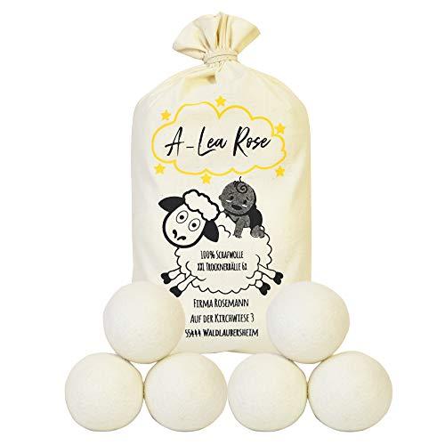 Die natürliche Alternative - 6 XXL Trocknerbälle aus 100% Schafwolle + Geschenk, Bälle für den Wäschetrockner, geeignet für Kinder und Allergiker da ohne Chemie und Bio logisch abbaubar