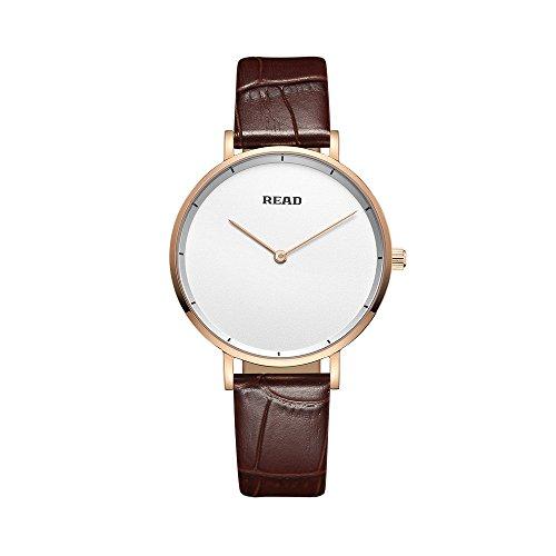 Damen Uhren Analog Quarzuhr Frauen Ultra Dünne Minimalistische Quarzwerk Armbanduhr Damenuhren mit Leder Armband (Brown-White)