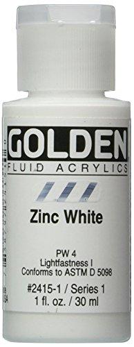 Golden Fluid Acrylic Paint 1 Ounce-Zinc White