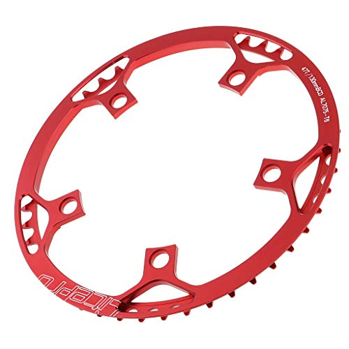 Toygogo - Cadena de Bicicleta de una Sola Velocidad (45T / 47T / 53T / 56T / 58T) 130BCD de Cadena Ancha Estrecha para Carretera/montaña/Bicicleta Plegable Fixie BMX MTB - 4 Colores, Red 47T