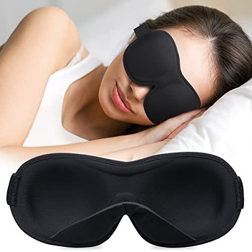 onaEz Schlafmaske 2021 Neues Upgrade Innenseiten Gepolsterte Nase Design, Augenmaske aus Weichem, Atmungsaktivem Material Zum Schläfen, Augenschutzabdeckung mit Verstellbarem Riemen für Yoga, Reisen