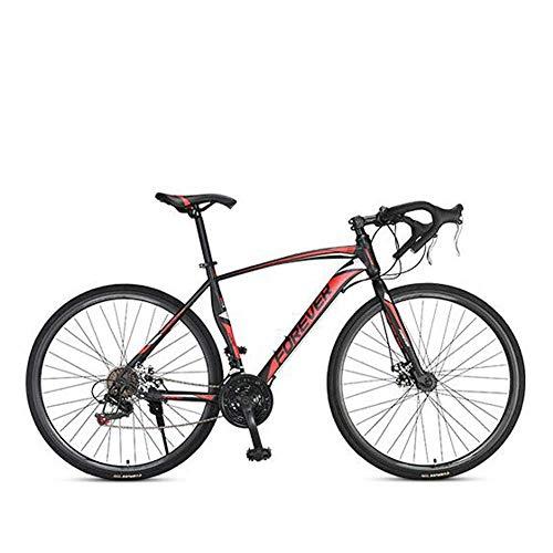 Chenbz Road bike mountain bike racing men's aluminum alloy adult ultra light 700c broken wind speed (Color : Red, Size : M)
