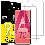 NEW'C 3 Unidades, Protector de Pantalla para Samsung Galaxy A72 / A72 5G, Antiarañazos, Antihuellas, Sin Burbujas, Dureza 9H, 0.33 mm Ultra Transparente, Vidrio Templado Ultra Resistente