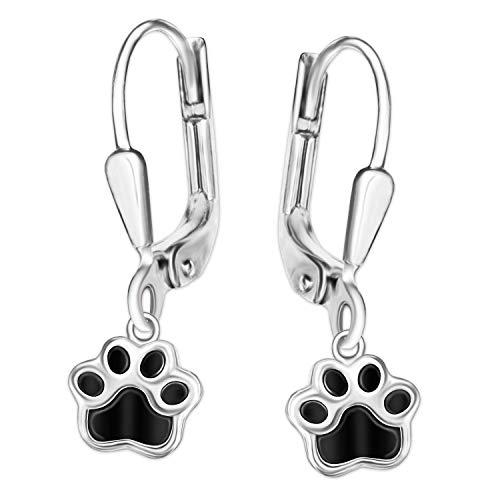 Clever Schmuck Silberne Ohrringe Hundepfote Ohrhänger 24 mm mit Pfote 9 x 8 mm schwarz lackiert glänzend STERLING SILBER 925 für Damen, Kinder oder Jugendliche