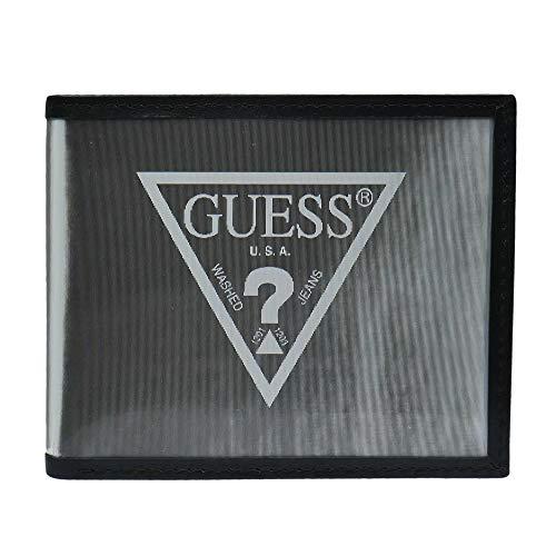 Guess Leather Passcase Wallet Billetera con Dos Pliegues, Plata, Talla única para Hombre