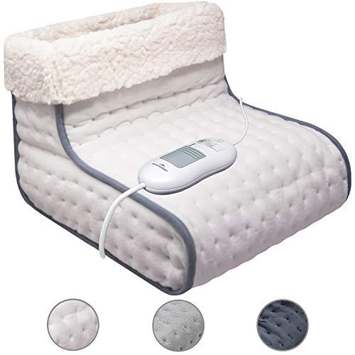 Fußwärmer mit 3 Heizstufen (in 3 Farben), weiches Innenfutter, maschinenwaschbar bis 30°C, Abschaltautomatik und Überhitzungsschutz (Beige)