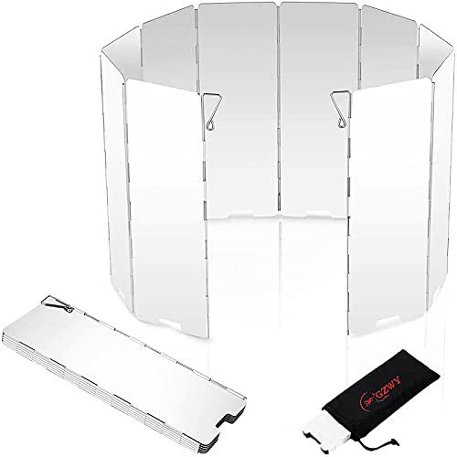 Windschutz für Gaskocher, Faltbar Windschutz mit 10 Lamellen aus Aluminium, Tragbare Windschutzscheibe für Camping Kocher, Outdoor Grill